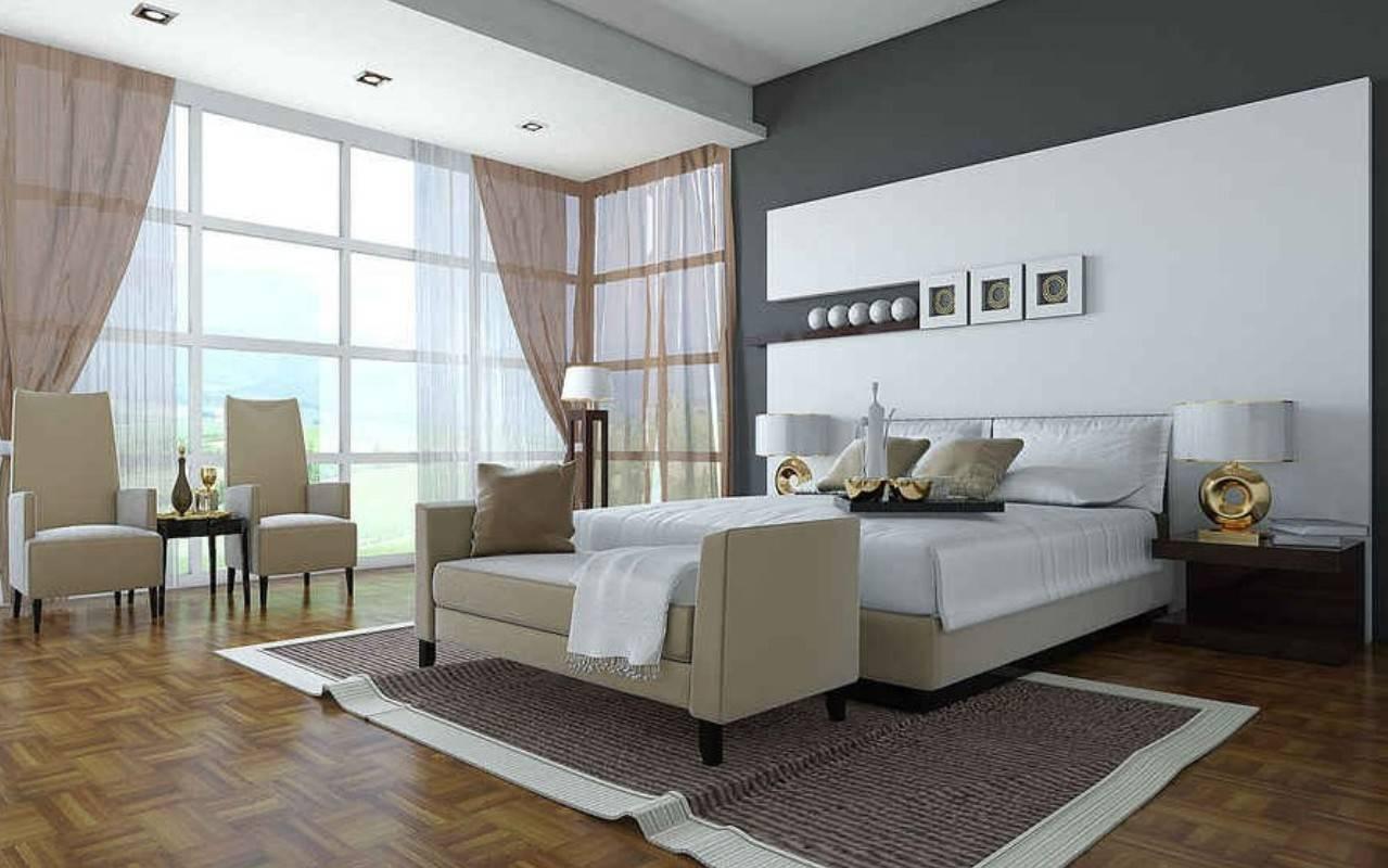 Big Bedroom Floor Ceiling Windows Interior Design