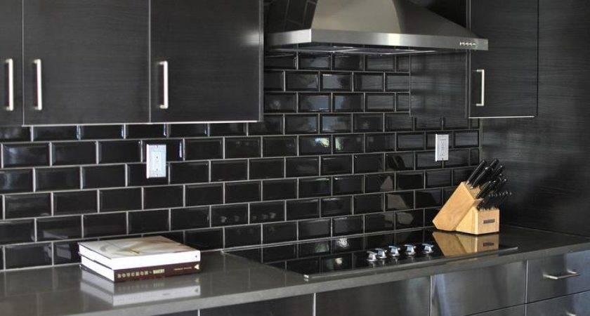 Cabinets Black Subway Tile Backsplash Contemporary Kitchen