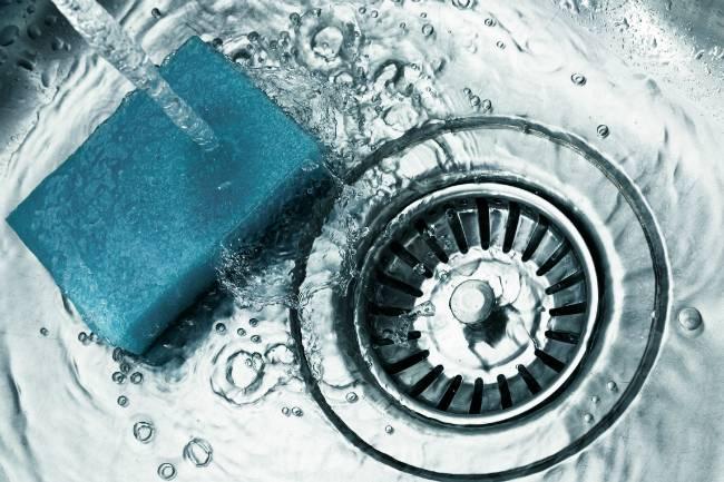 Clean Stainless Steel Sink Sponge Down