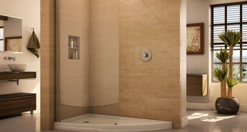 Curved Glass Walk Shower Enclosure Slice Shaped Acrylic Base