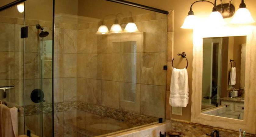 Design Remodeling Ideas Beige Tiling Large Walk Shower