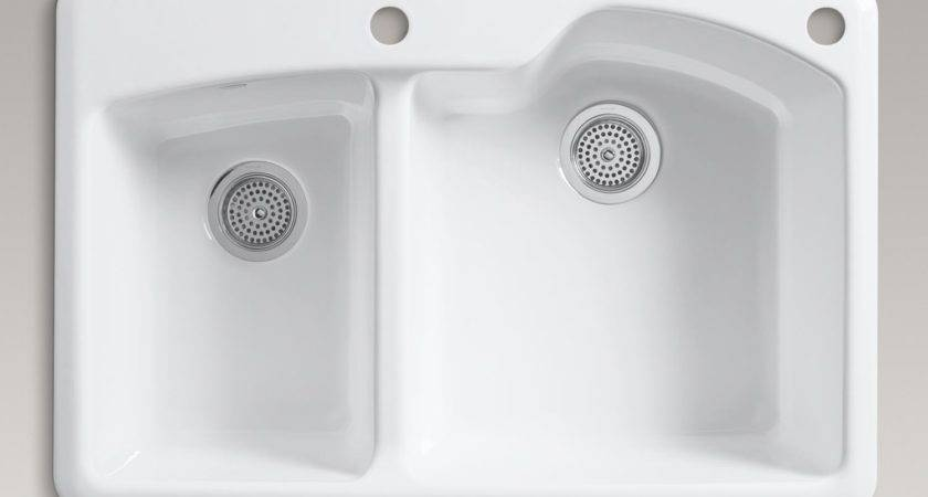 Double Basin Sink Hole Faucet Drilling White Home Improvement