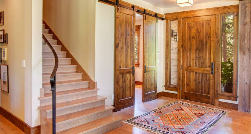 Farmhouse Front Door Rustic Light Wood Stairs