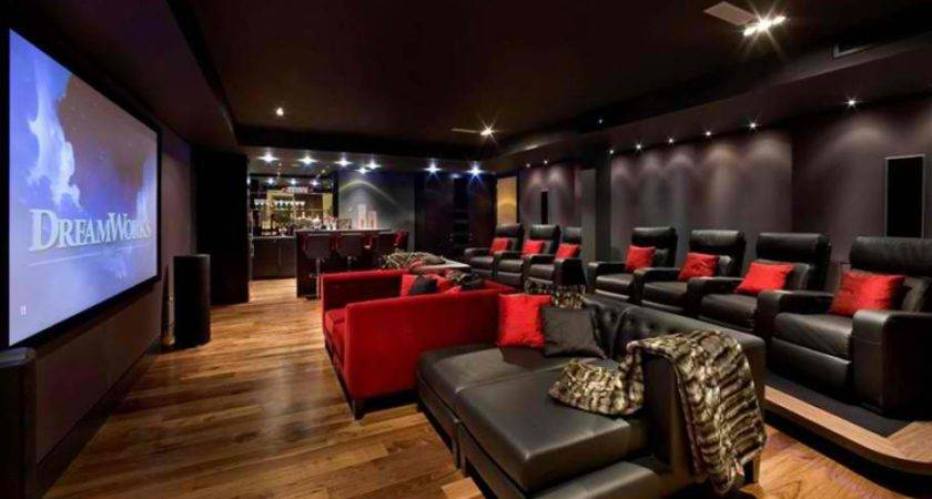 Home Theater Black Leather Armchairs