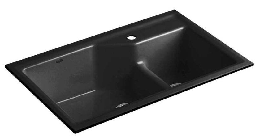 Kohler Indio Smart Divide Black Cast Iron Sink