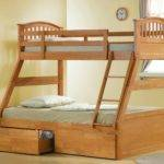 Maple Triple Sleeper Bunk Bed Three Storage Drawers