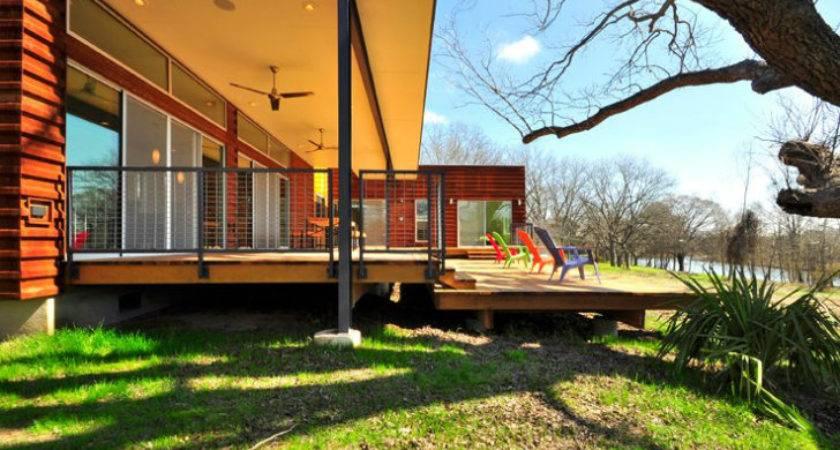 Modular Blanco River House Modern Green Prefab Near Austin