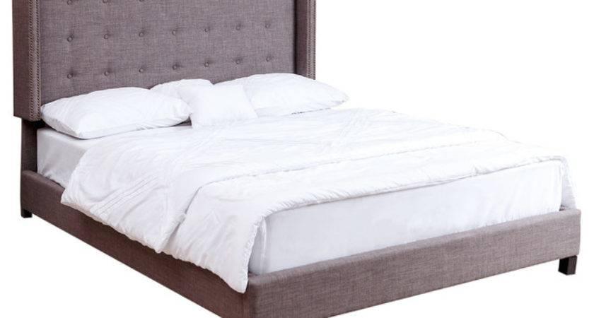 Parker Tufted Grey Linen Bed Queen Panel Beds