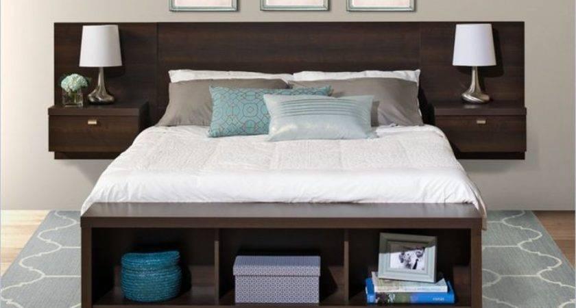 Platform Storage Bed Floating Headboard Espresso