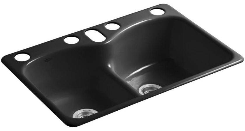 Shop Kohler Langlade Black Double Basin Cast