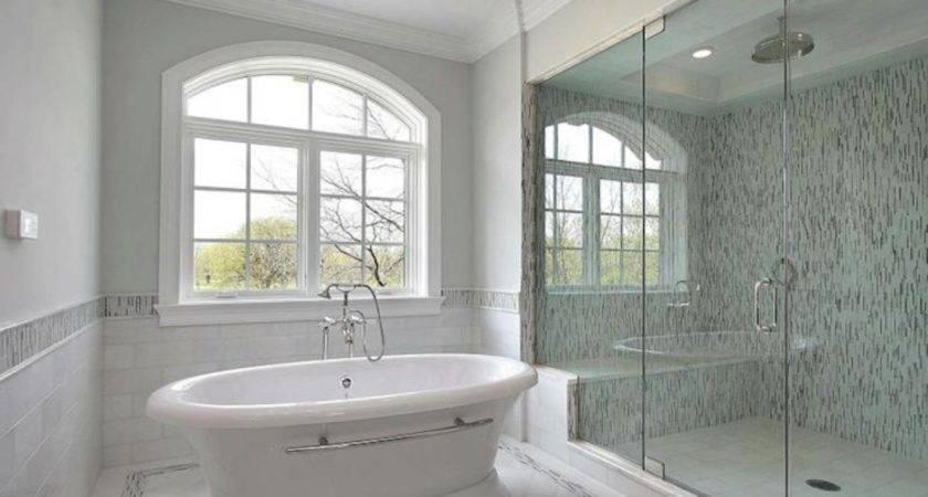 Shower Blue Gray Soho Glass Mosaic Tiles Surround Rain