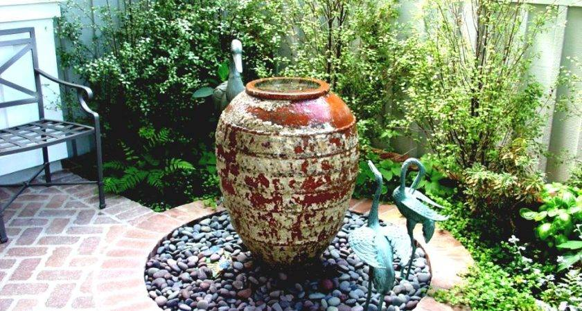 Simple Garden Fountains Stones Front Yard