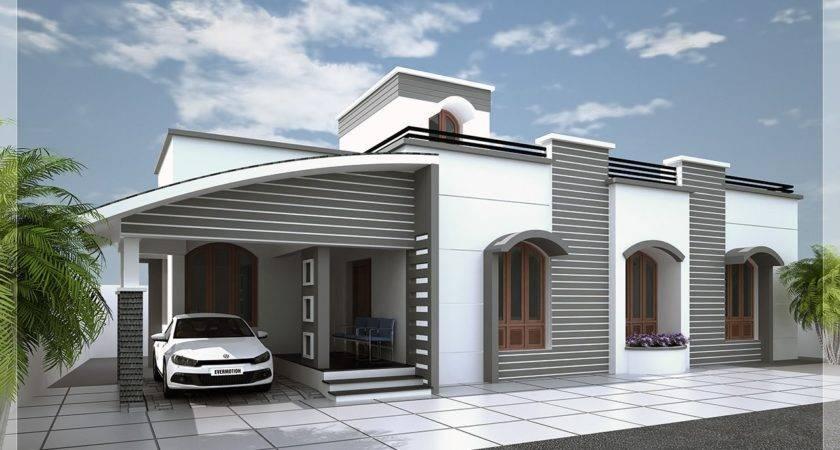 Single Floor Kerala House Elevation White Grey