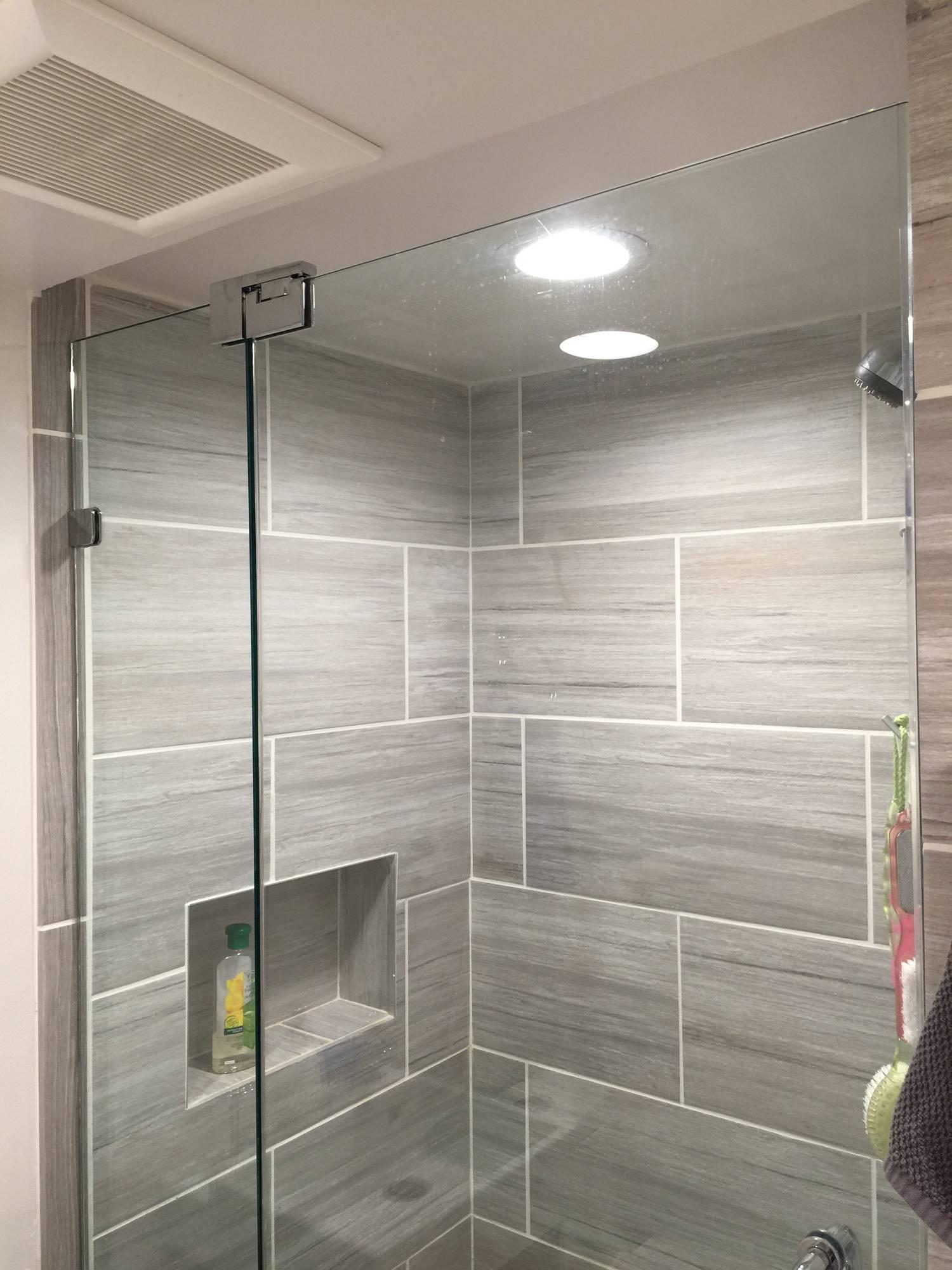 Small Bathroom Frameless Shower Door Installation Wayne