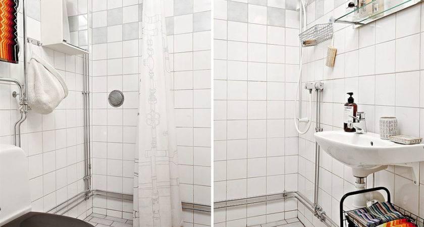Square Foot Apartment Design White Bathroom