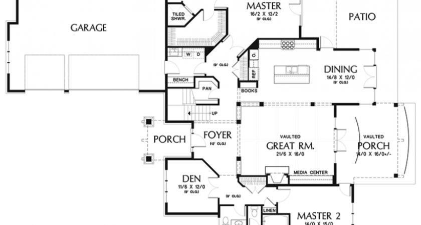 Style House Plan Elegant Craftsman Dual Master Suites