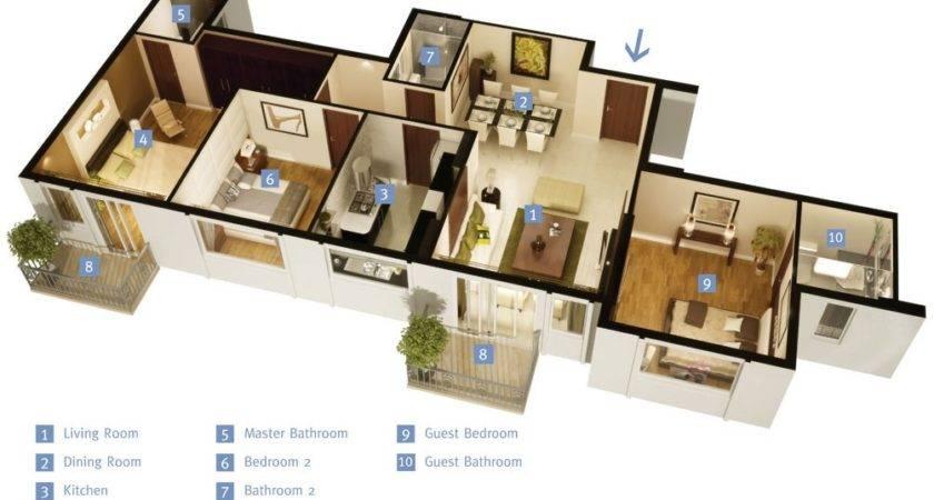 Three Bedroom Apartment House Plans Architecture Design