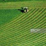Tractor Cutting Grass Silage Overhead Patterns Field