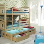 Triple Sleeper Bunk Beds Solid Wooden Pine Childrens