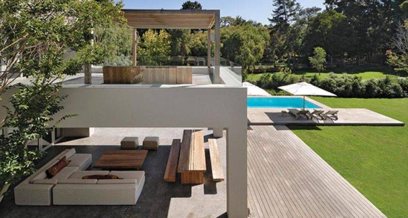 Two Storey Open Concept House Outdoor Living Room Area Olpos